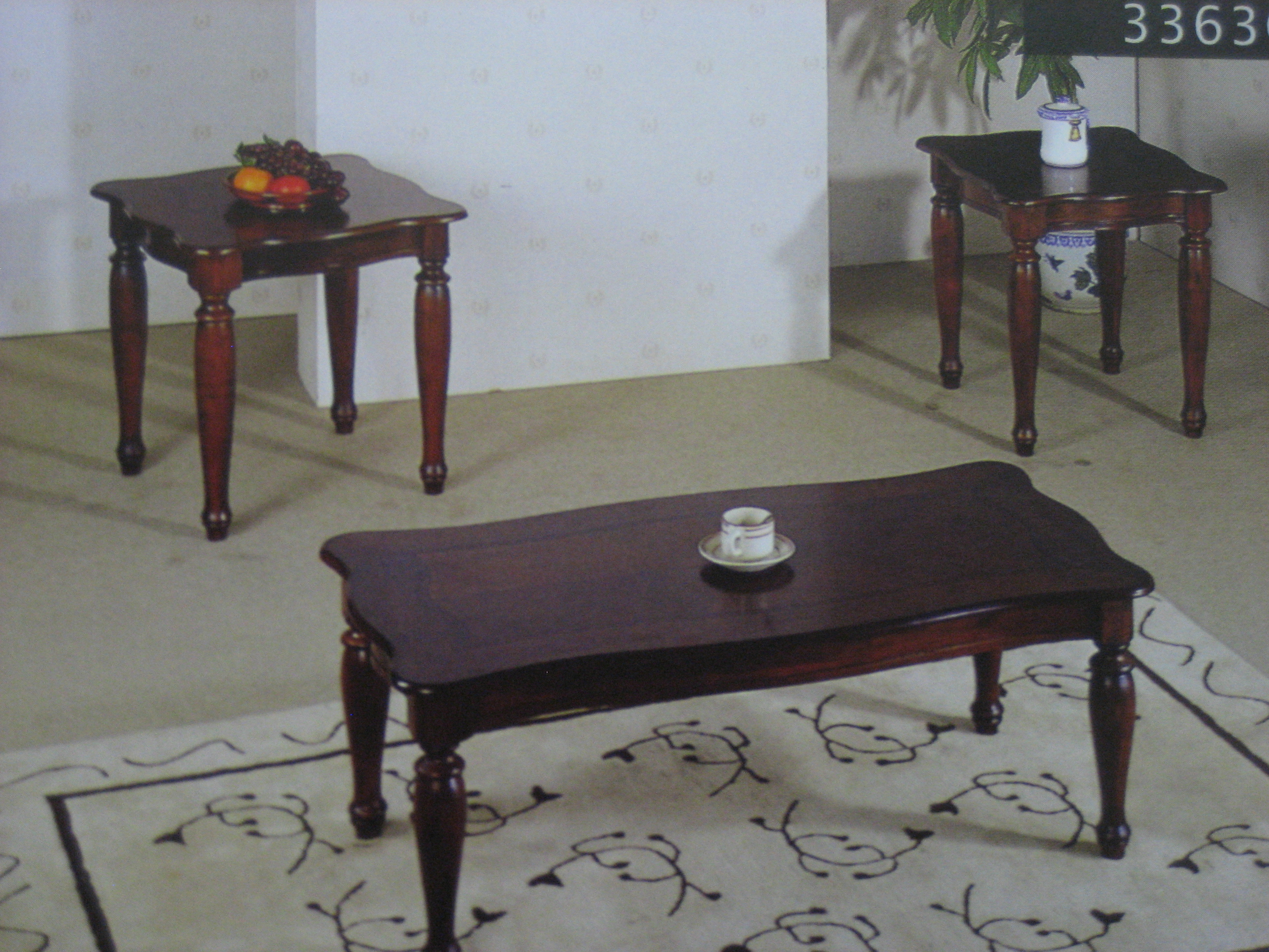 3363 Cherry Wood Coffee Table 2 End Table Set Furniture Outlet Llc In Pickerington Ohio 1272