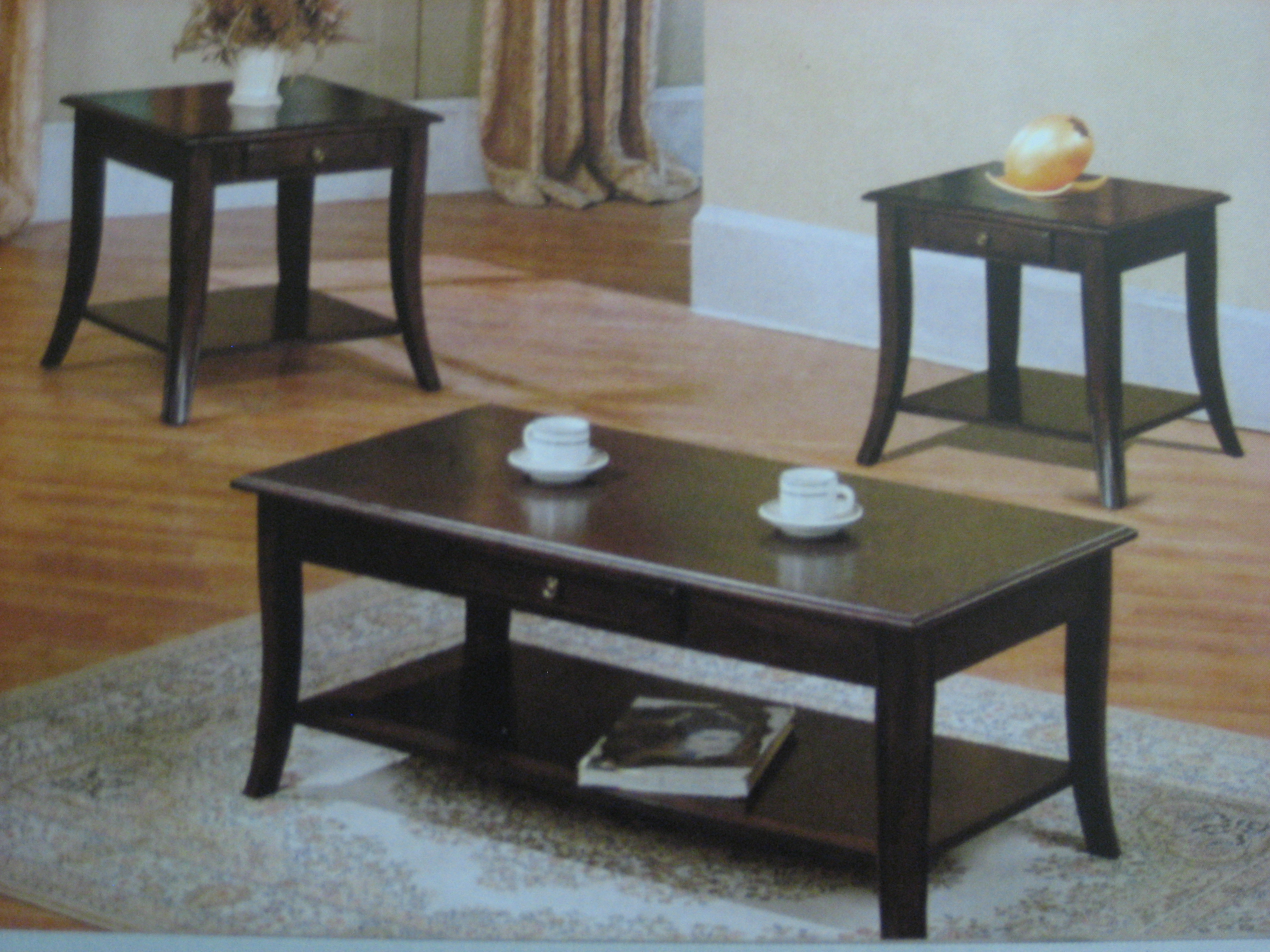 3394 Dark Brown Wood Coffee Table 2 End Tables Set Furniture Outlet Llc In Pickerington Ohio
